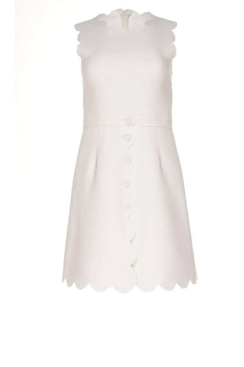 RED VALENTINO Off-White Scallop Trimmed Mini Dress