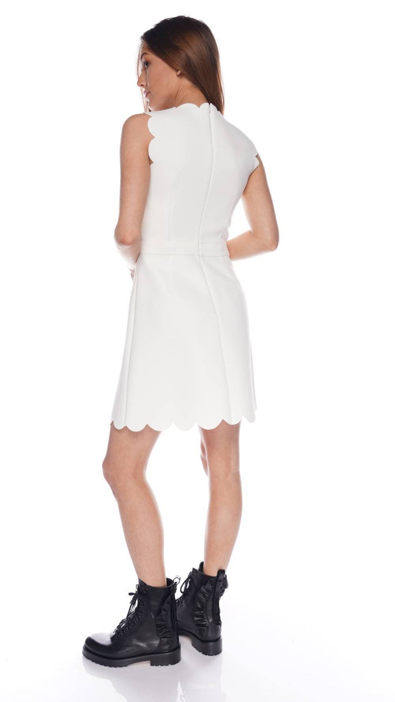 Off-White Scallop Trimmed Mini Dress