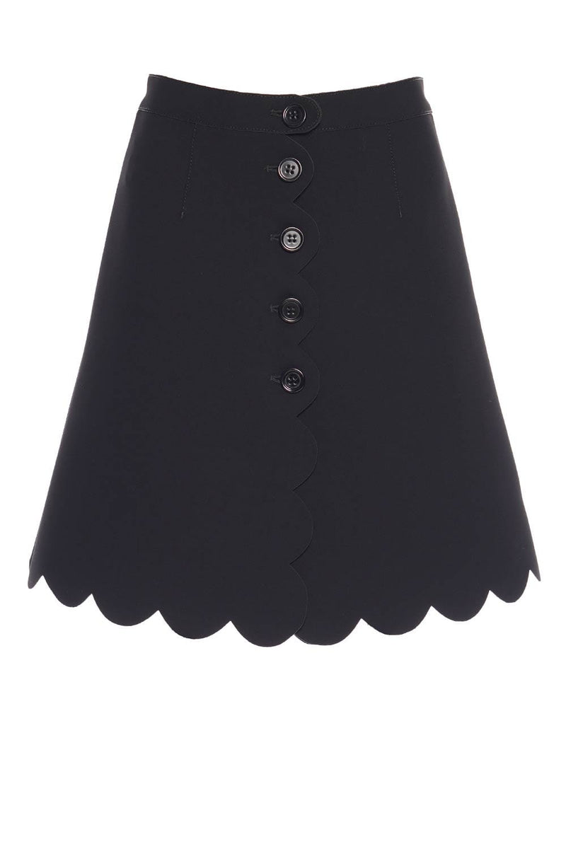 RED VALENTINO Black Scalloped Hem Mini Skirt