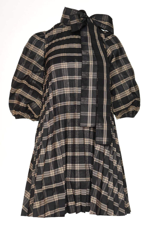 Black Plaid Bow-Detail Pleated Mini Dress