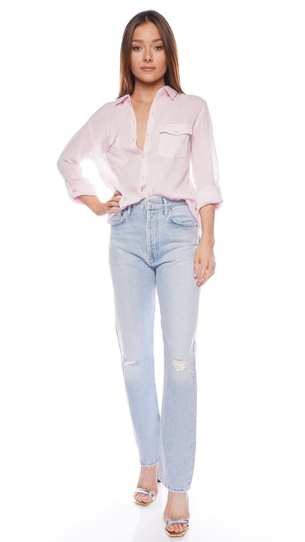 Tash Blush Tie Front Button Down