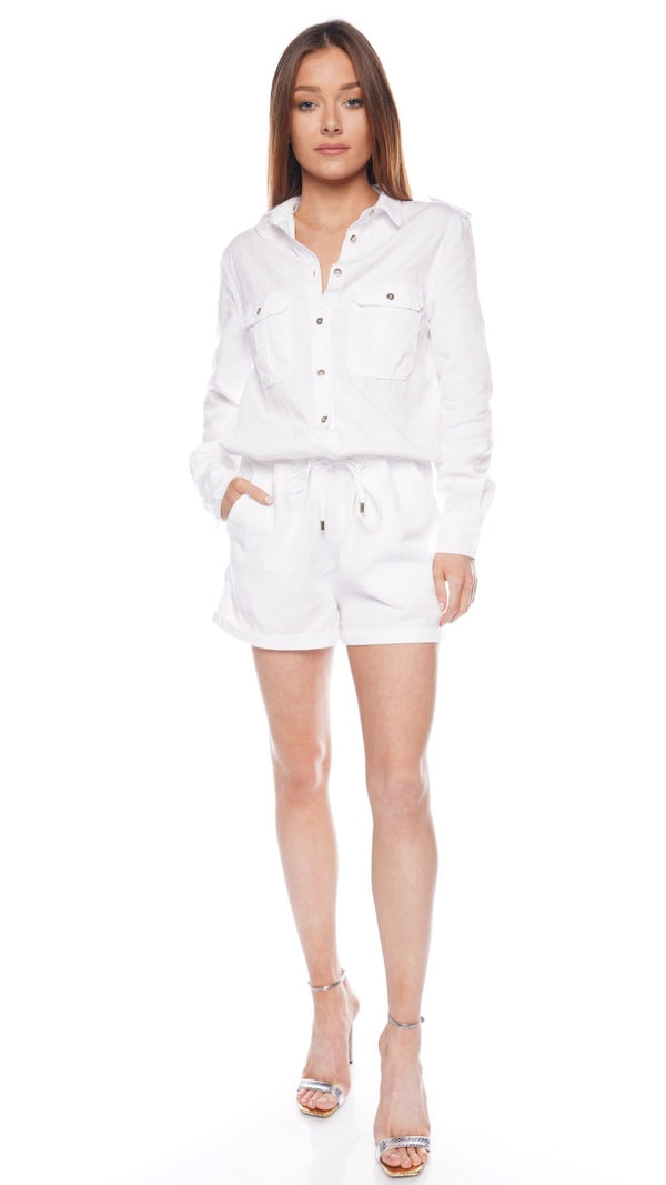 Honour White Denim Romper