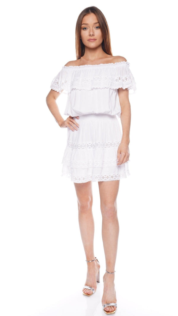 Melody White Off Shoulder Mini Beach Dress