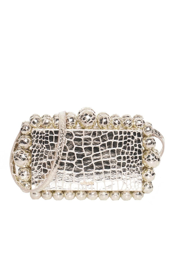 Cult Gaia EOS Silver Metallic Crossbody Box Clutch