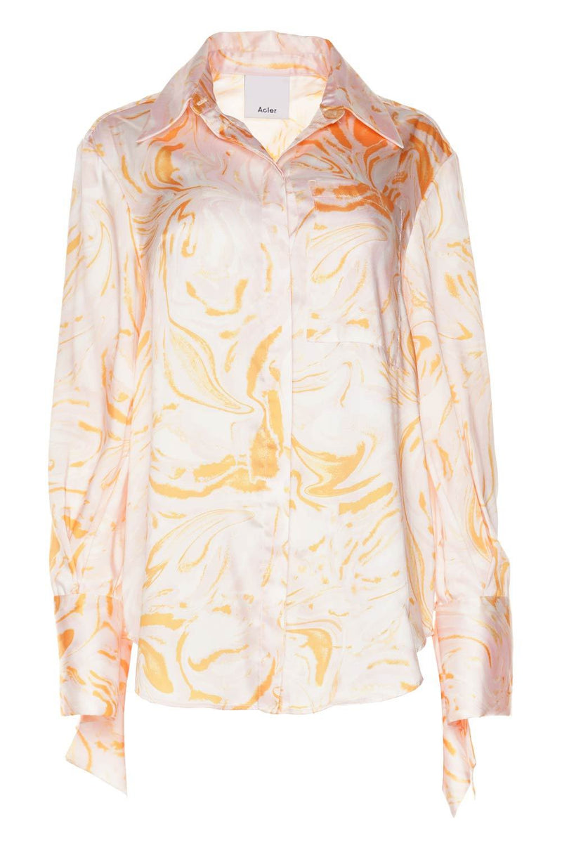 Acler Coleman Printed Satin Long Sleeve Blouse