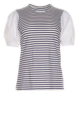 Eva Navy Stripe Puff Sleeve Tee