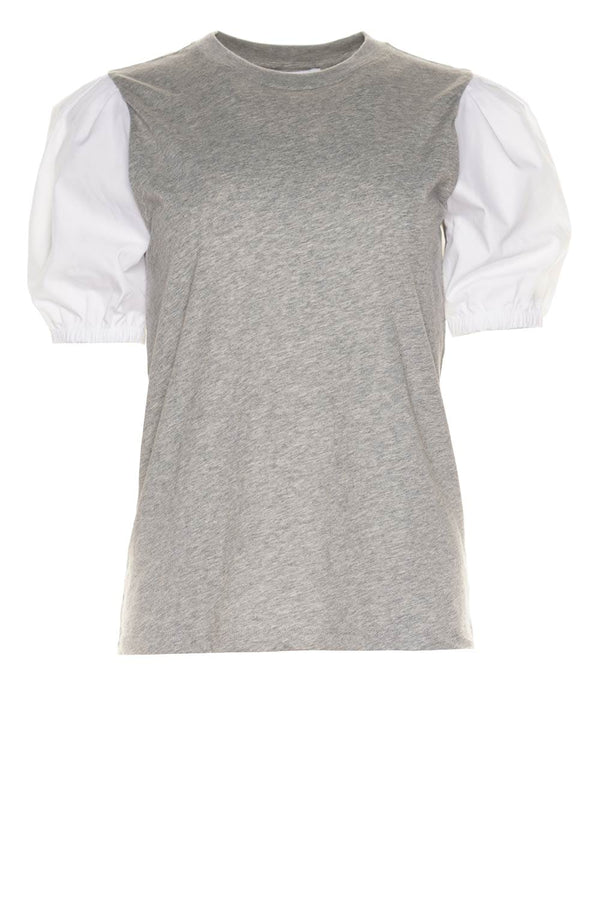 Eva Grey & White Puff Sleeve Tee