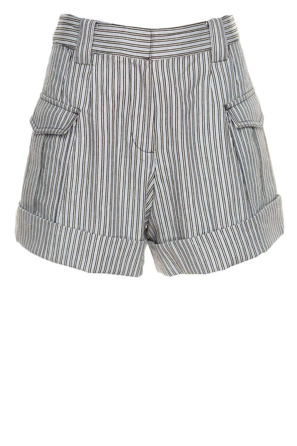 Derek Lam 10 Crosby Ryder Striped High-Waisted Shorts