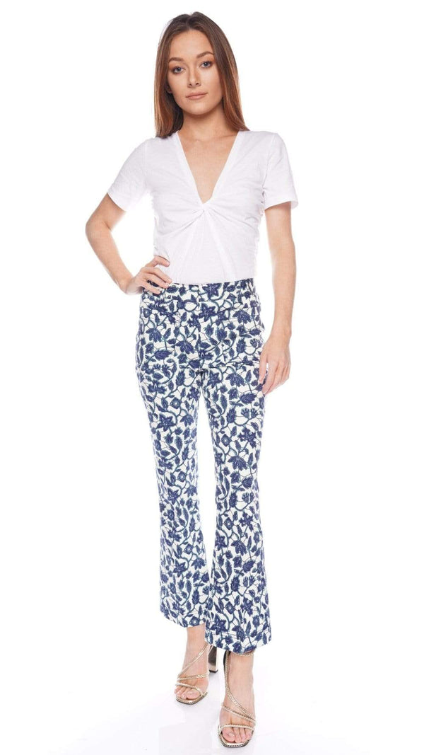 Derek Lam 10 Crosby Laurie Printed Crop Flare Trousers