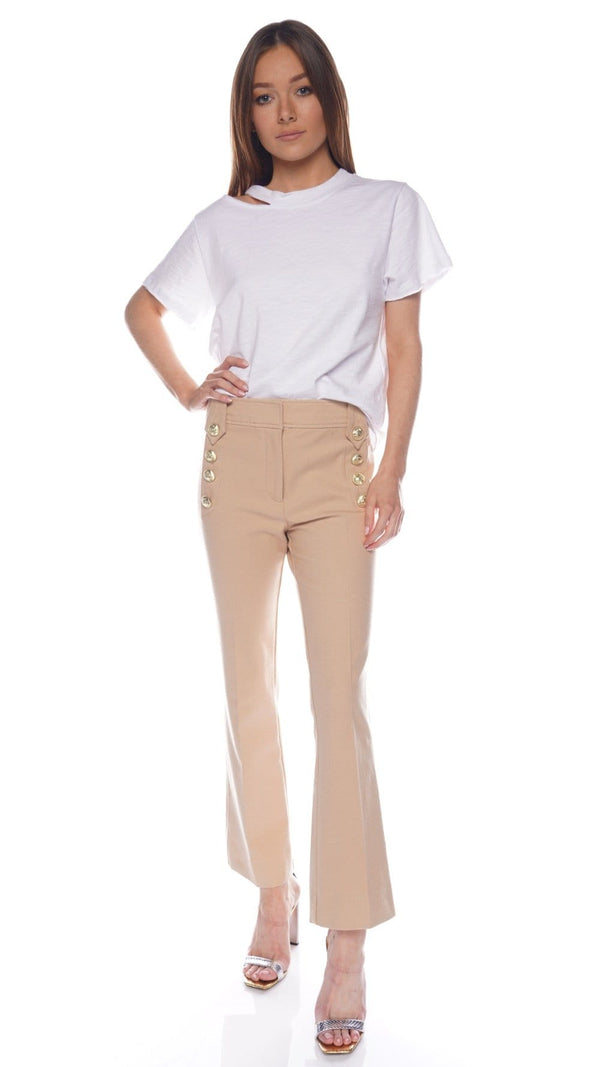 Derek Lam 10 Crosby Robertson Sesame Cropped Flare Trousers with Sailor Buttons