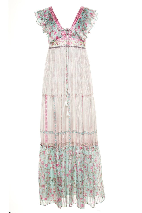 Misa Mixed Floral V-Neck Maxi Dress