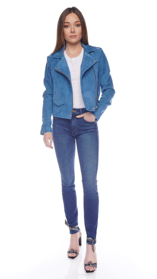 Ashley Blue Vintage Suede Moto Jacket
