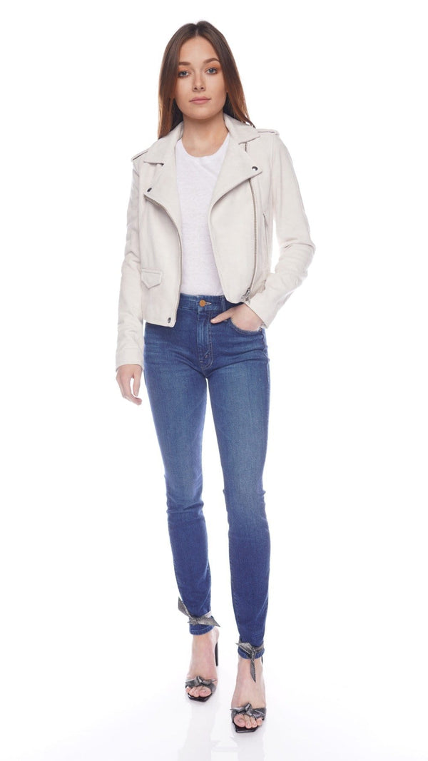 Ashley Chalk Suede Moto Jacket