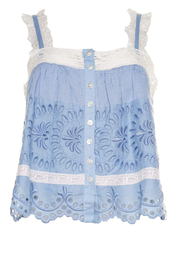 Sully Cobalt Embroidered Top