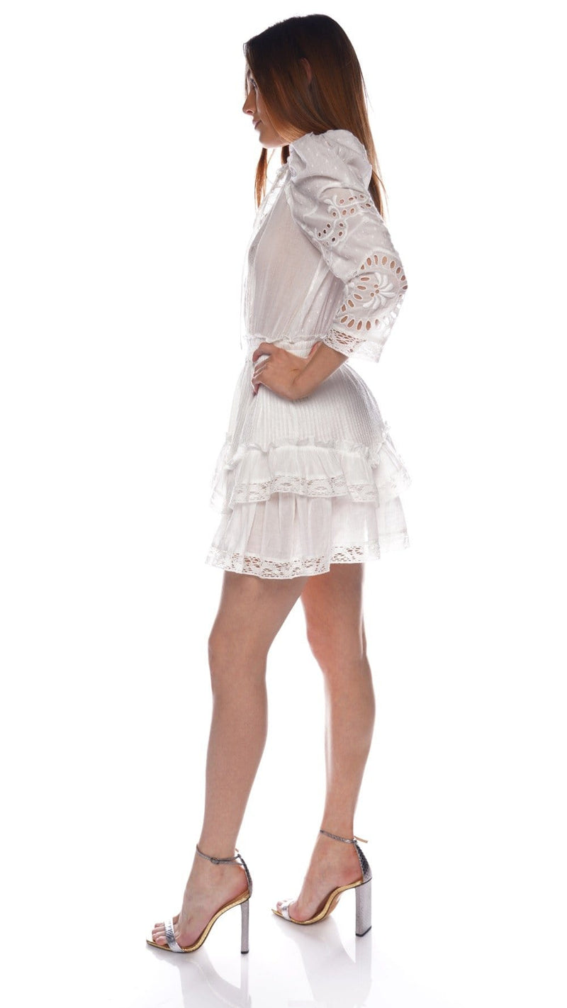 LoveShackFancy Isidore White Lace Tiered Mini Dress