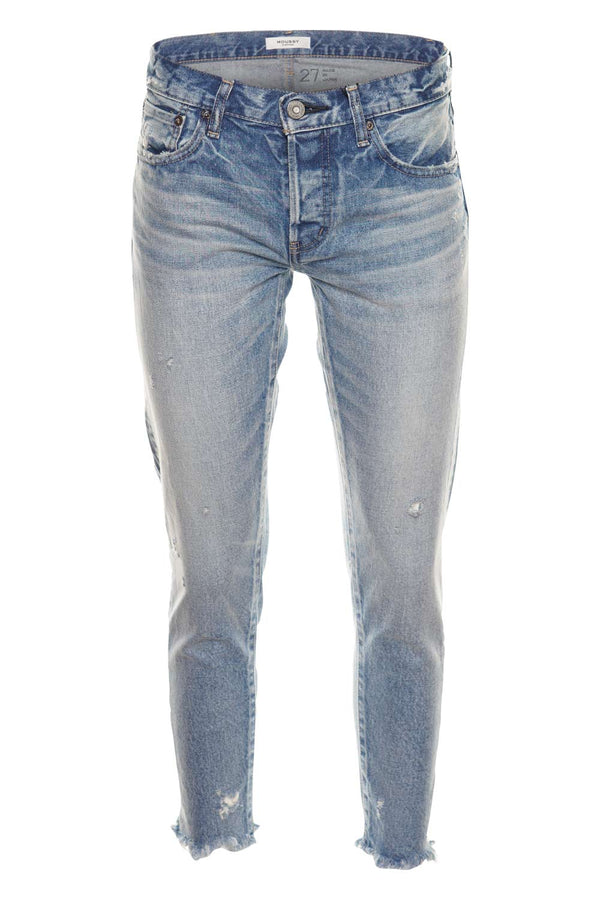 MOUSSY VINTAGE Keller Light Blue Tapered Distressed Straight-Leg Jeans