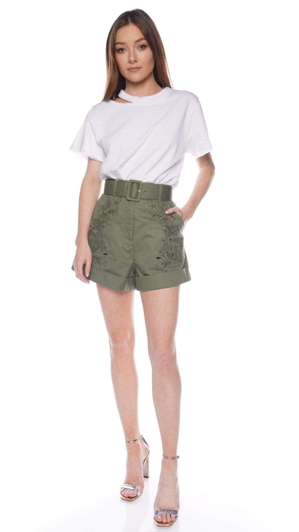 self-portrait Khaki Embroidery Belted Shorts