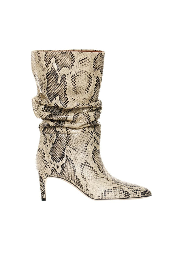 Slouchy Python-Embossed Leather Boots