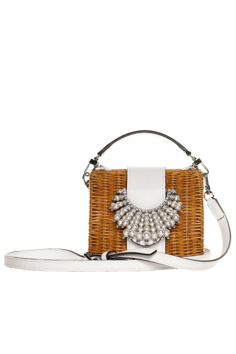Gedebe Wicker Purse Off-White Leather Top-Handle Bag