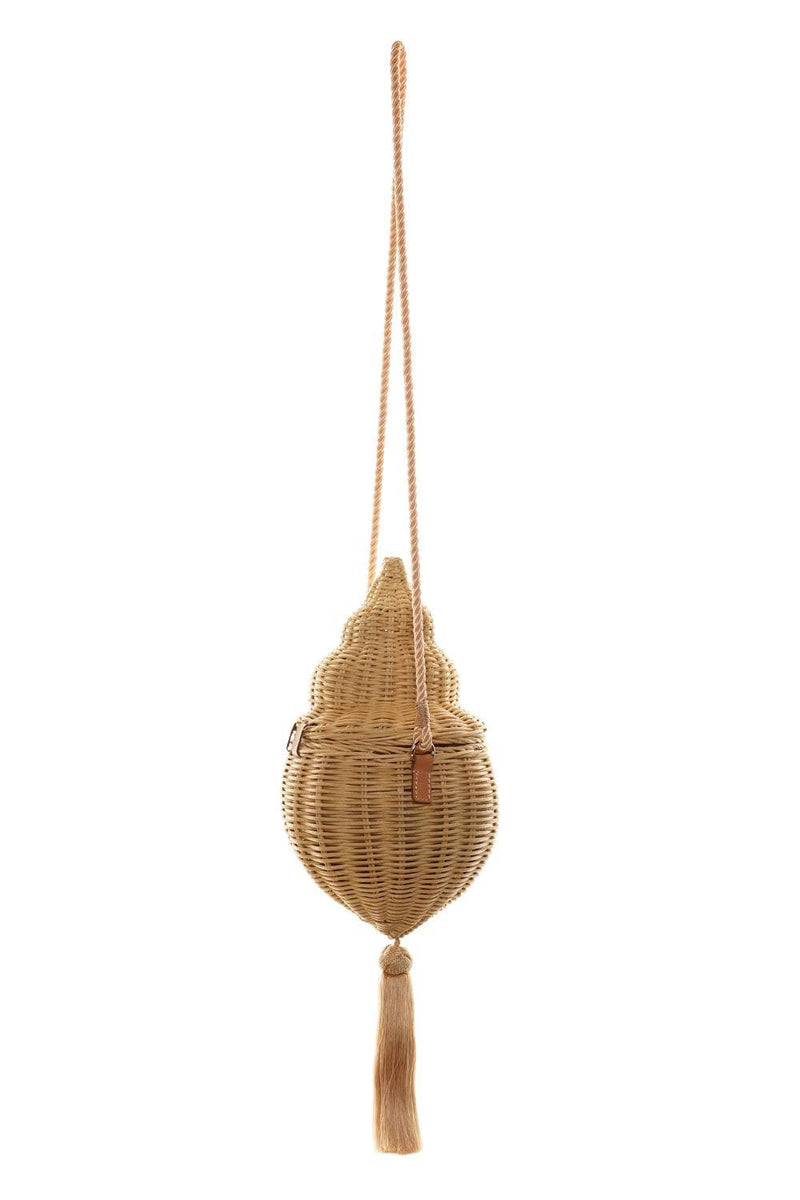 POOLSIDE The Madison Wicker Conch Shell Bag