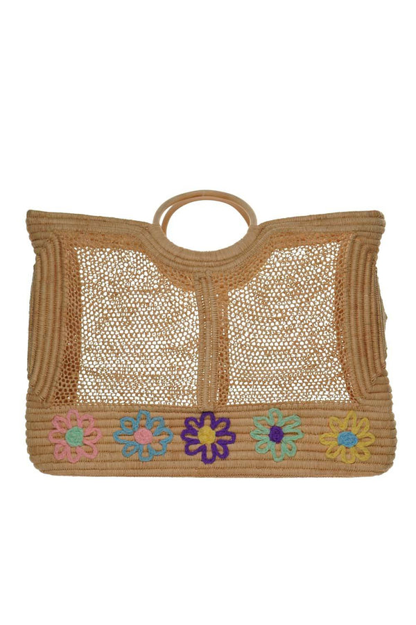 Floral Embroidered Poolside Tote