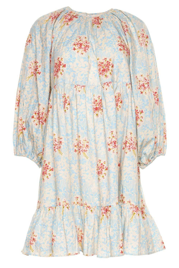 Poplin Painted Flowers Mini Shift Dress