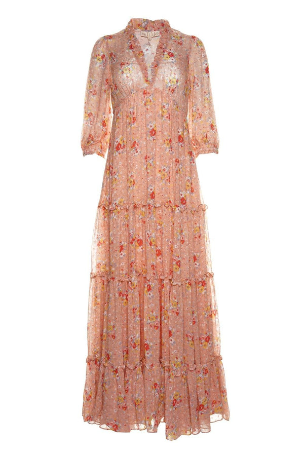 byTiMo Delicate Vintage Flowers Semi Maxi Dress