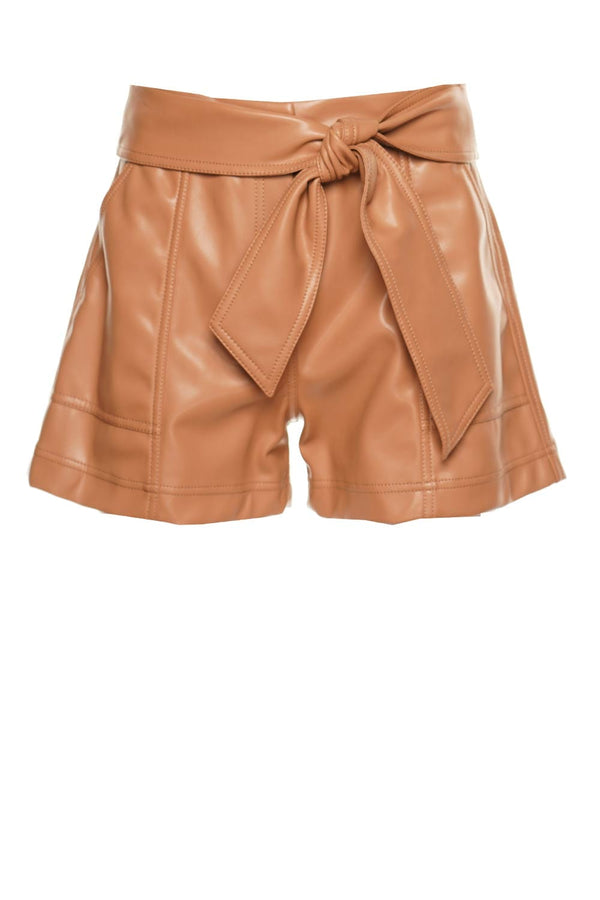 Mari Vegan Leather Tie Waist Shorts