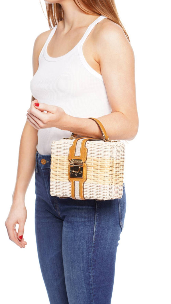 Harley Rattan and Leather Top Handle Bag