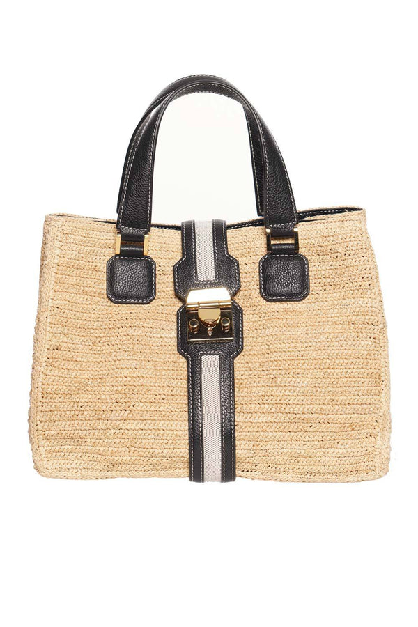 Riviera Raffia and Leather Tote Bag