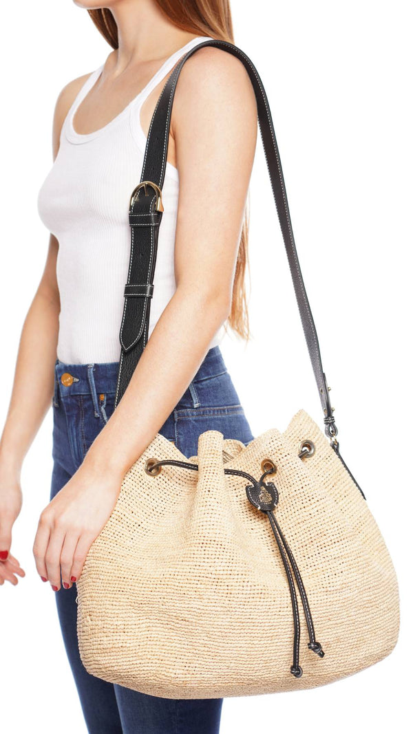 Joni Raffia and Leather Bucket Bag