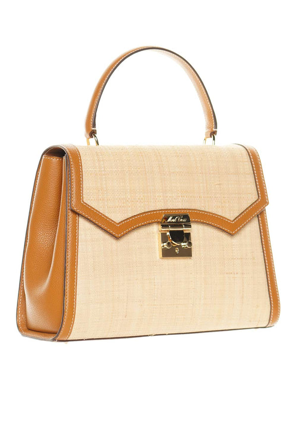 Mark Cross Madeline Lady Raffia & Leather Top-Handle Bag