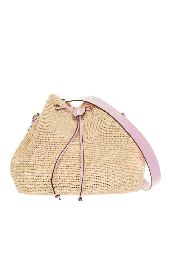 Mark Cross Joni Raffia & Lilac Leather Bucket Bag
