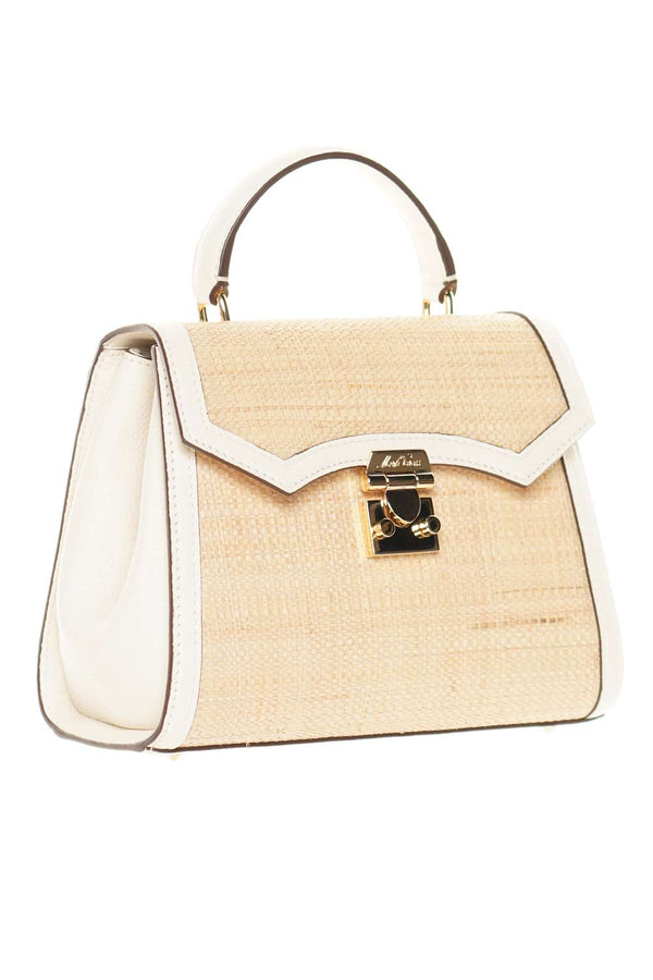 Mark Cross Madeline Mini Lady Raffia & Leather Top Handle Bag