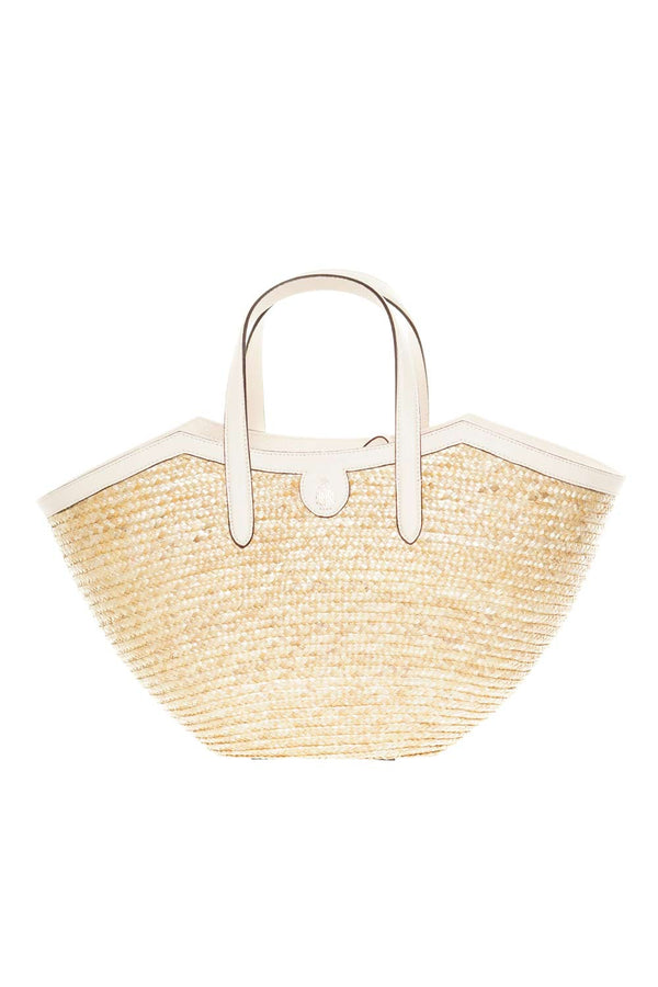 Mark Cross Madeline Straw & Bone Leather Basket Tote