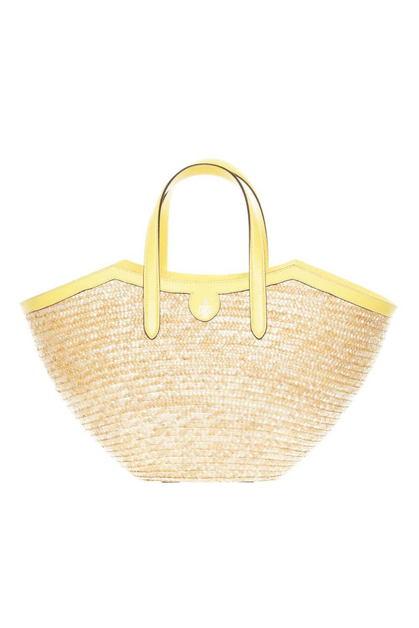 Mark Cross Madeline Straw & Lemon Leather Basket Tote