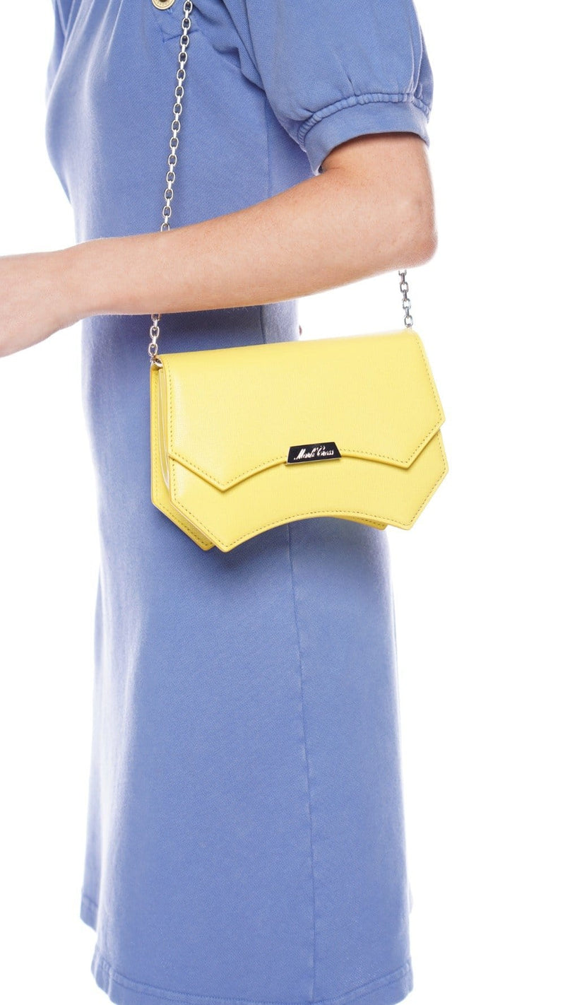 Mark Cross Madeline Evening Lemon Leather Clutch