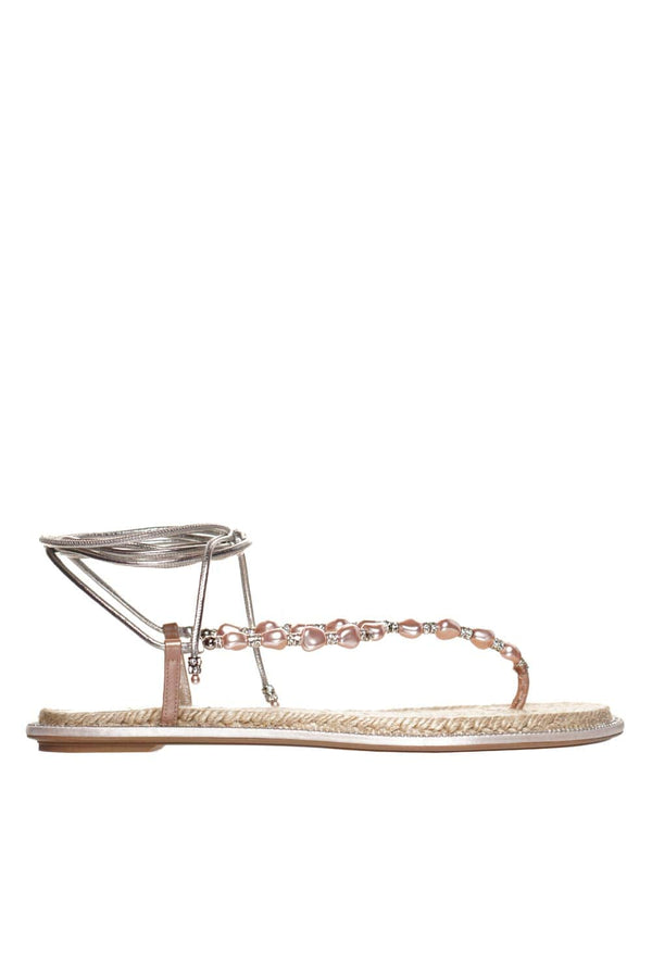 Pink Crystal And Pearl Thong Sandal