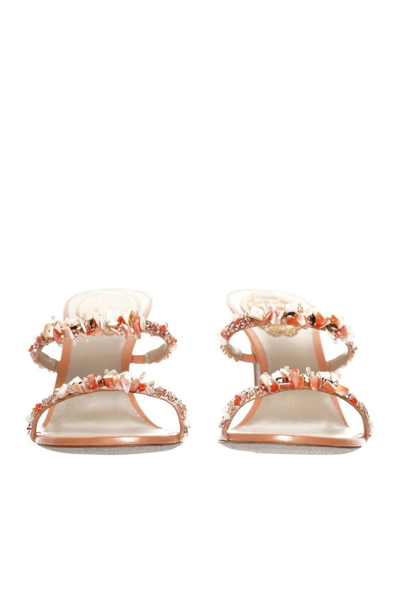 Peach Satin And Pearl Heeled Sandal