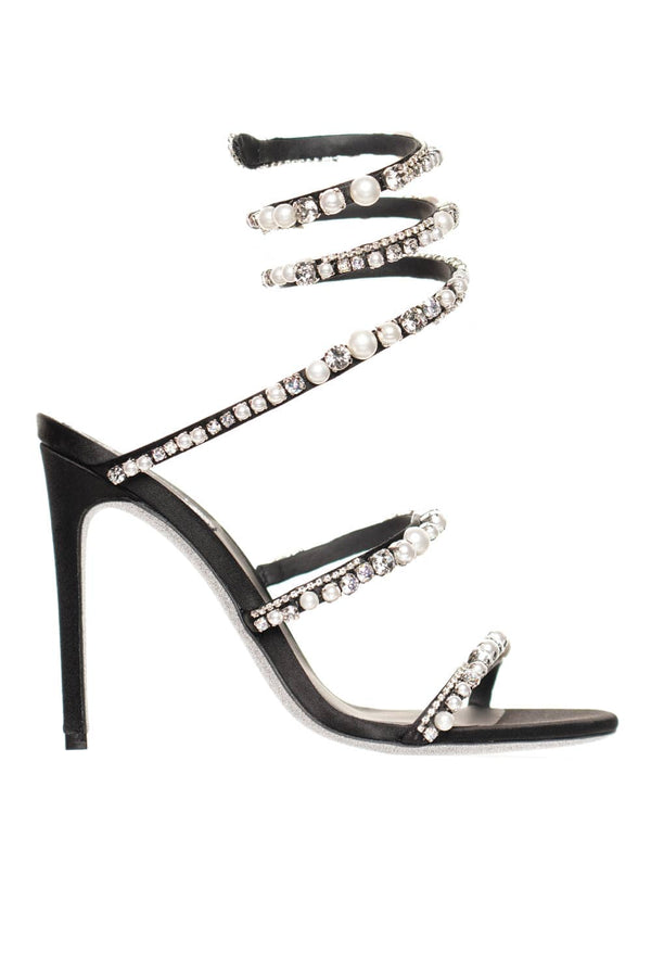Aika Crystal And Pearl Black Satin High Heel Sandal