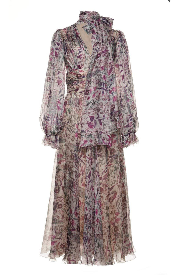 Tie-Neck Printed Silk Maxi Dress