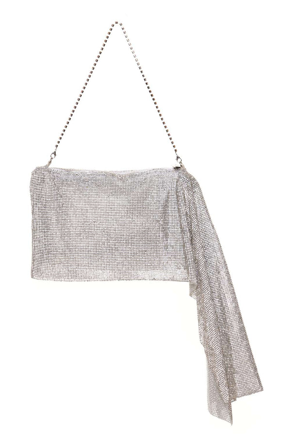 Gedebe Drape Silver Crystal Mesh Shoulder Bag
