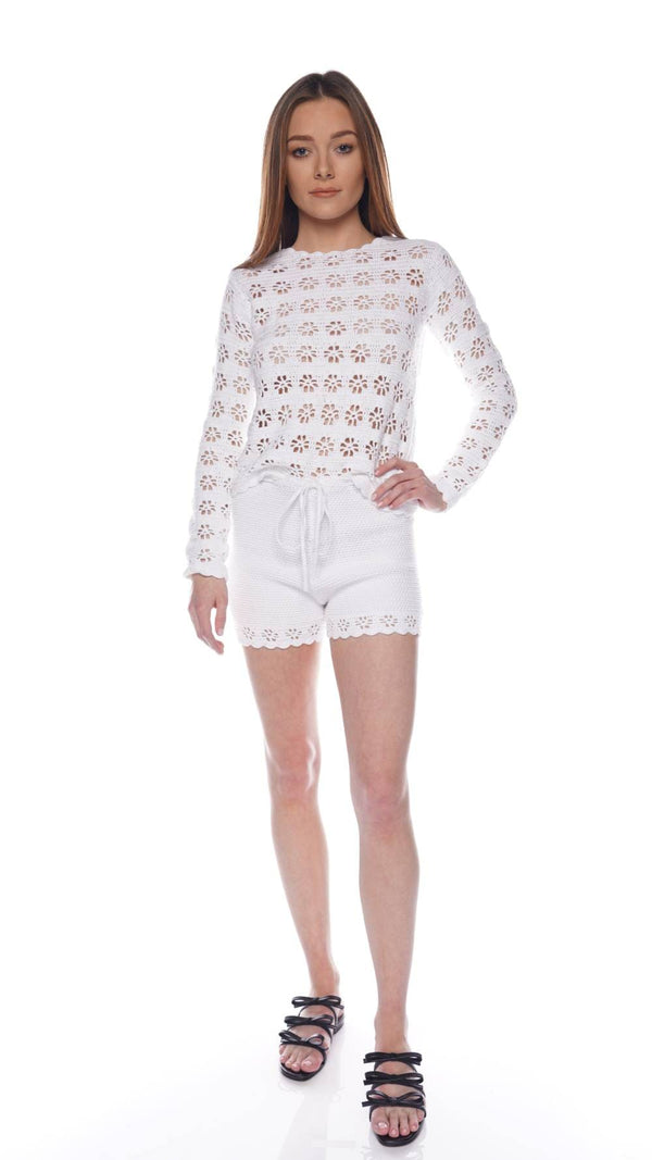 RED VALENTINO White Floral Crochet Knitted Shorts