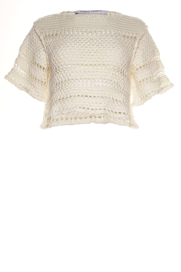 White Open-Knit Short Sleeve Sweater