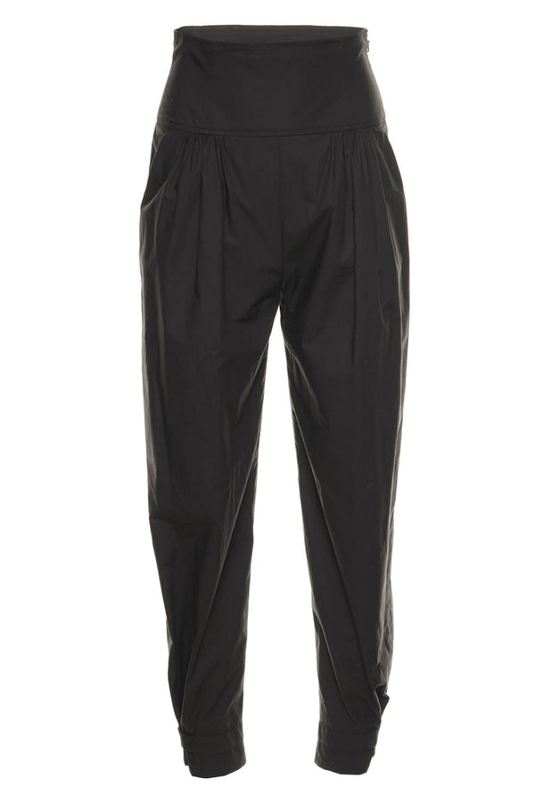 Alberta Ferretti Black Cotton Poplin Jogger Pants