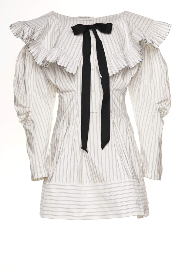 White Striped Ruffled Mini Dress