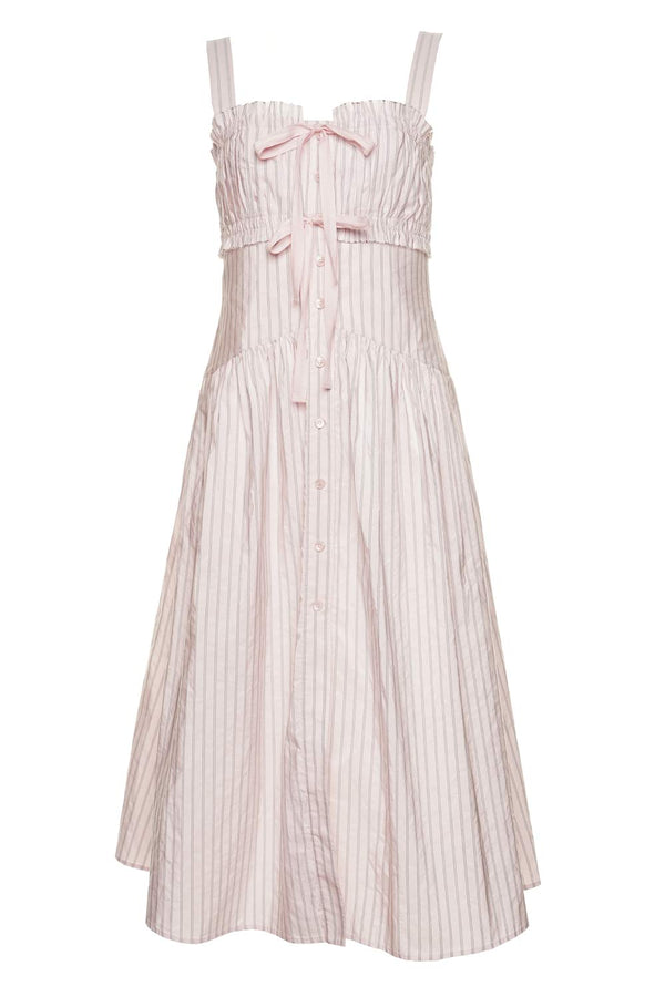Pink Striped Tiered Midi Dress