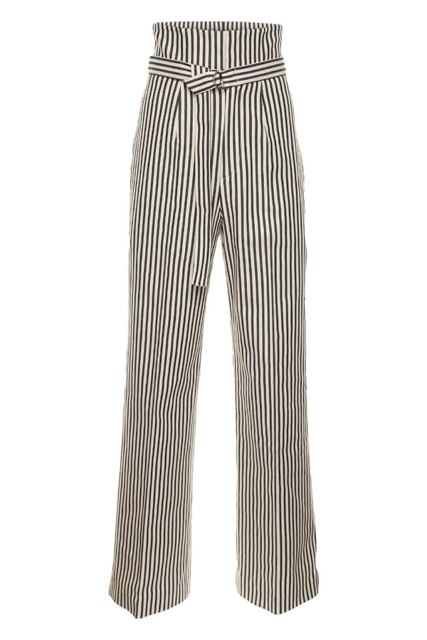 PHILOSOPHY DI LORENZO SERAFINI Striped Cotton Drill Belted Trousers