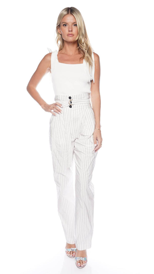 PHILOSOPHY DI LORENZO SERAFINI Striped Taffeta Belted Trousers