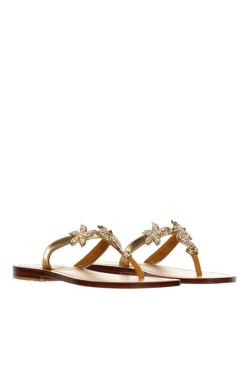 MYSTIQUE Seahorse Gold Crystal Thong Sandal